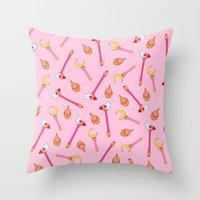 magical girl Throw Pillows featuring Magical Girl Weapons – White by mimia