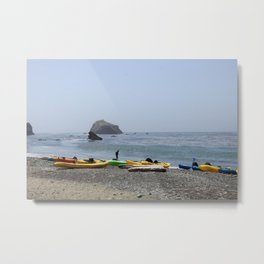 Canoes At Bodega Bay Metal Print