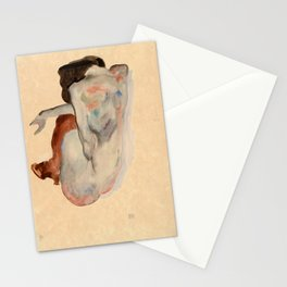 Egon Schiele - Crouching Nude in Shoes and Black Stockings, Back View Stationery Cards