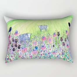 Summer Meadow, landscape painting Rectangular Pillow