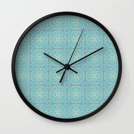 Vintage Fleur-de-lis Tile in Old World Tile Pattern Wall Clock
