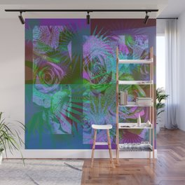 Green & Purple Roses Wall Mural