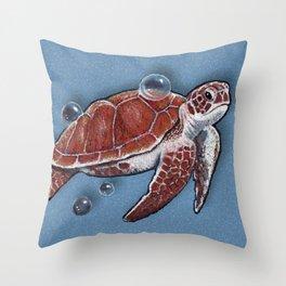 Turtle Swimming, Bubbles, Ocean Blue, Wildlife Art Throw Pillow