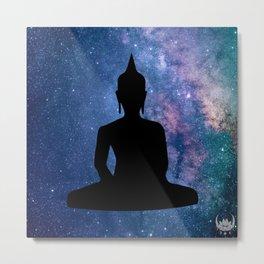 Galaxy Space Buddha (Black) Metal Print