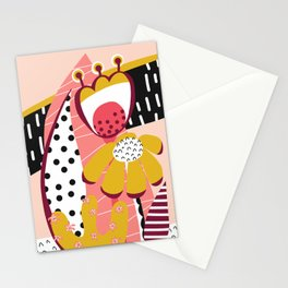 Collage Flowers pink, gold, white, black Stationery Cards