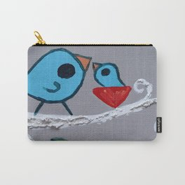 Mamma Bird - Blue on Grey Carry-All Pouch