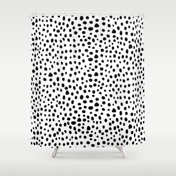 Modern Black And White Hand Drawn Polka Dots Shower Curtain
