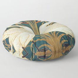 Walter Crane Swan, Rush And Iris Floor Pillow