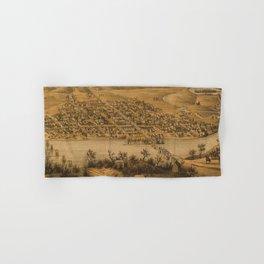 Vintage Pictorial Map of Fredericksburg VA (1863) Hand & Bath Towel
