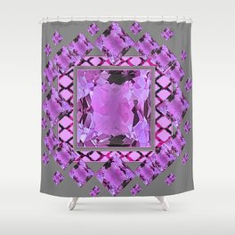 PURPLE AMETHYST FEBRUARY GEM BIRTHSTONES MODERN ART DESIGN Shower Curtain
