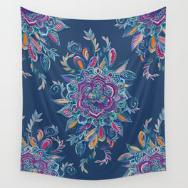 Deep Summer - Watercolor Floral Medallion Wall Tapestry