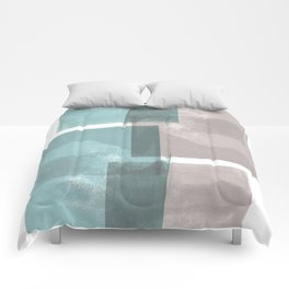 Modern Geometric Abstract Turquoise and Grey Comforters