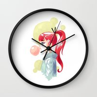 bubblegum Wall Clocks featuring Bubblegum by Freeminds