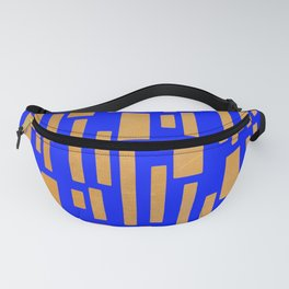 Abstract Bamboo Blue Gold Mid-Century Fanny Pack