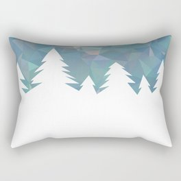 Northern Lights in winter forest in geometrical style Rectangular Pillow
