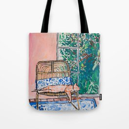 Napping Ginger Cat in Pink Jungle Garden Room Tote Bag