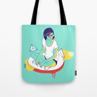 spaceship Tote Bags featuring Spaceship by Eugenia Perez