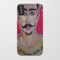 greg guillemin iPhone & iPod Cases featuring MOUSTACHED MODEL (GREG)  by Punkboy Marti