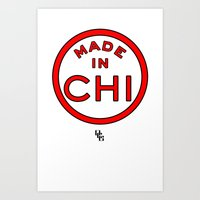 chicago bulls Art Prints featuring Made in Chicago CHI BULLS by DCMBR - December Creative Group