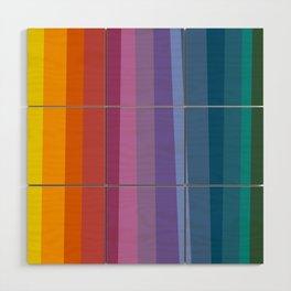 Modern Bright Rainbow Abstract Stripes Wood Wall Art