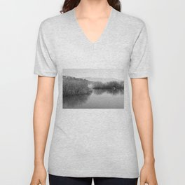 Lakescape in bw Unisex V-Neck