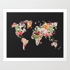Floral World Map Art Print
