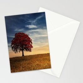 Red tree in the golden field Stationery Cards