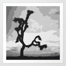 A Joshua Tree In Black And White Art Print