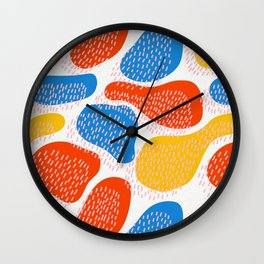 Abstract Orange, Blue and Yellow Memphis Inspired Pattern Wall Clock