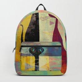 Mid-Century Modern 2 Cats - Graffiti Style Backpack