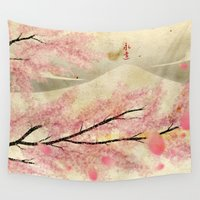 sakura Wall Tapestries featuring Sakura by Carles Marsal
