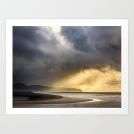 Sunlight and Storms Over Cape Lookout, Oregon Art Print