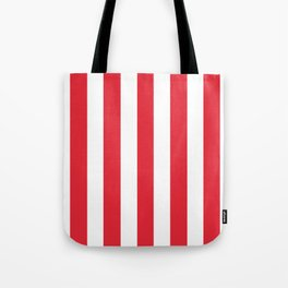 Rose madder red - solid color - white vertical lines pattern Tote Bag