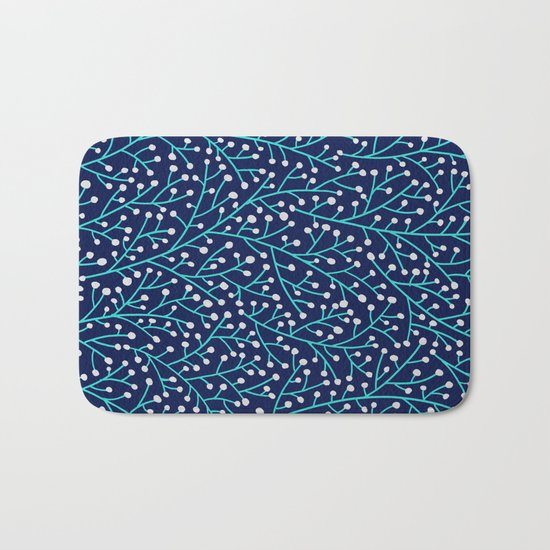 Berry Branches - Turquoise on Navy Bath Mat