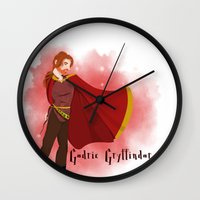 gryffindor Wall Clocks featuring Godric Gryffindor by Hailey Del Rio