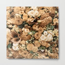 Fantasy flower garden. Delicate blooming elegant rusty gold summer flowers artwork. Vintage glamorous moody artistic floral botanical design in cool tones. Beauty of nature. Metal Print