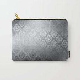 """Neutral gray Damask Pattern"" Carry-All Pouch"