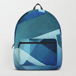 Vivid Blue Shapes - Digital Geometric Texture Backpack