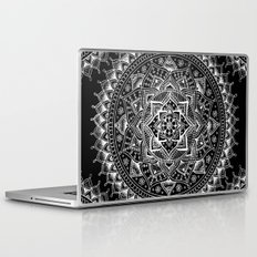White Flower Mandala on Black Laptop & iPad Skin