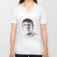 spock V-neck T-shirts featuring Spock by Sara (aka Wisney)