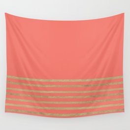 Peach and Gold Stripes Wall Tapestry