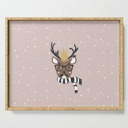 Holiday Deer Illustration Serving Tray