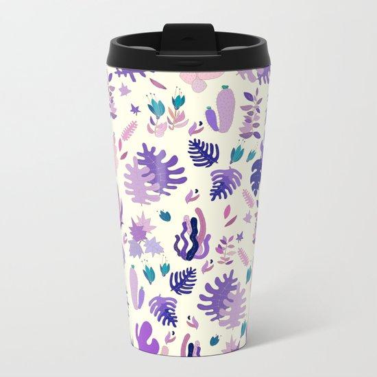 Purple Garden Metal Travel Mug