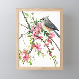 Titmouse and Cherry Blossom, birds and flowers design artwork Framed Mini Art Print