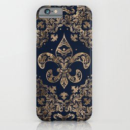 Luxury Fleur-de-lis Ornament - gold and dark blue iPhone Case