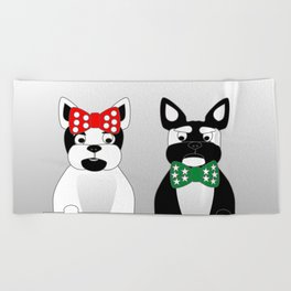 French Bulldogs Merry Christmas Beach Towel