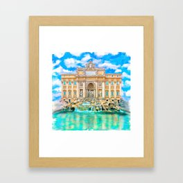 Trevi Fountain - Landmark Rome - La Dolce Vita Framed Art Print