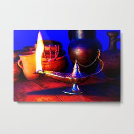 Magic Lamp of Aladdin. Call out the Genie Metal Print