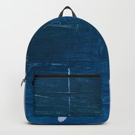 Rain [1]: a minimal, abstract mixed-media piece in blues, white, and gold by Alyssa Hamilton Art Backpack