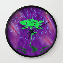 funny green rose Wall Clock